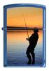 Зажигалка Zippo Вечерняя рыбалка, латунь/сталь с покрытием Sapphire, синяя, глянцевая, 36x12x56 мм
