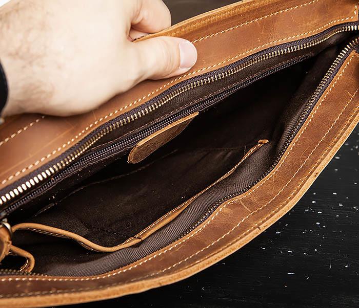 BAG493-2 Мужская сумка из натуральной кожи «Crazy Horse» c ремнем фото 11