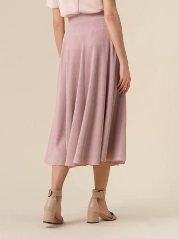 Женская юбка-миди светло-розового цвета с поясом на резинке - фото 3