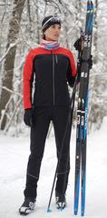 Женский утеплённый лыжный костюм Nordski Active Base Black/Red 2020 без лямок