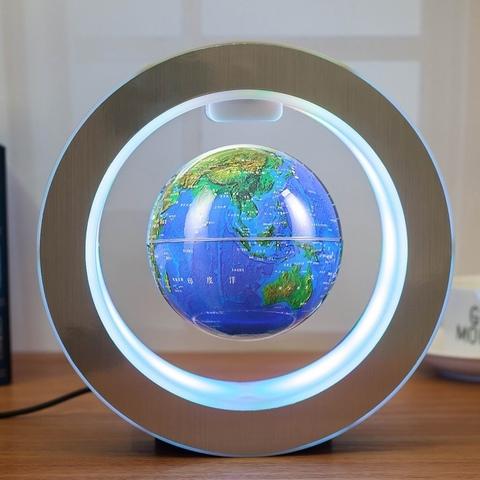 Левитирующий светильник: глобус в круглой раме (синий)