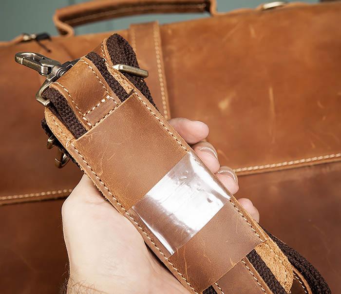 BAG493-2 Мужская сумка из натуральной кожи «Crazy Horse» c ремнем фото 12