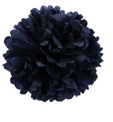 Бумажный помпон Черный (14''/36 см)