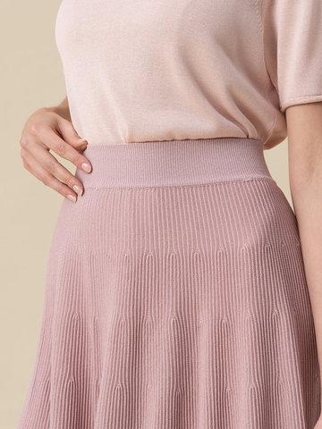 Женская юбка-миди светло-розового цвета с поясом на резинке - фото 5