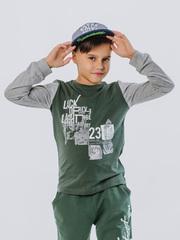 Футболка для мальчиков зеленая с серыми рукавами купить в ассортименте