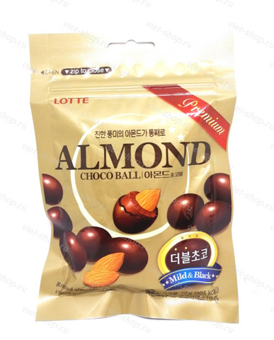 Миндаль в молочном шоколаде Almond Choco Ball Lotte в пачке, 70 гр.