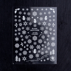 Наклейки снежинки серебро (1572)