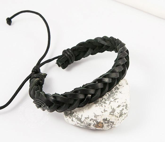 SL0135-K Мужской плетеный браслет из черной натуральной кожи, «Spikes»