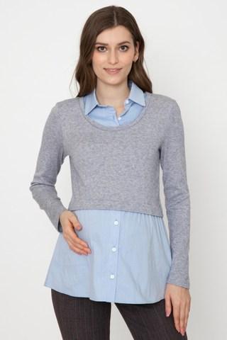 Джемпер-обманка для беременных 10923 голубой