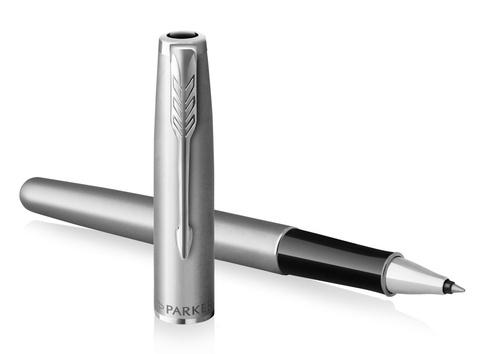Ручка роллер Parker Sonnet T546  Stainless Steel CT F черные чернила, в подарочной коробке123