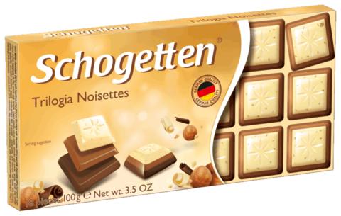 Шоколад белый Schogetten Trilogia с грильяжем и фундуком и молочным шоколадом джандуйя 100 гр