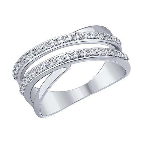 94012043 - Кольцо из серебра с дорожками из фианитов
