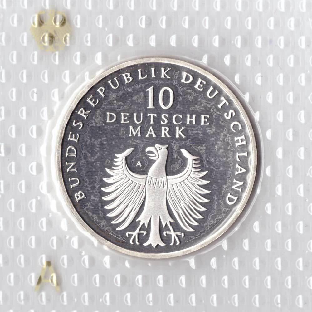 10 марок. 50 лет Немецкой марке (A). Серебро. 1998 г. PROOF. В родной запайке
