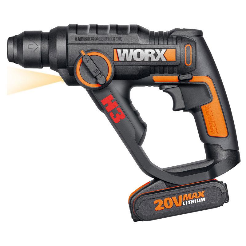 Перфоратор аккумуляторный WORX WX390.1, 20В, 2 Ач x2, кейс