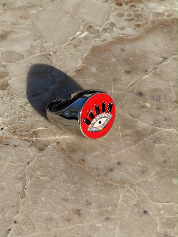Кольцо-печатка Глаз из серебра с красной эмалью