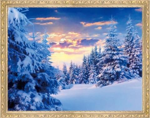Алмазная Мозаика 40x50 Спокойствие зимнего леса (арт. MGL8099 )