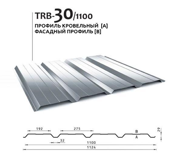 Профилированный лист TRB-30/1100, BUDMAT