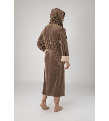 Халат мужской  бамбуковый с капюшоном Sports коричневый 1145  Nusa Турция.