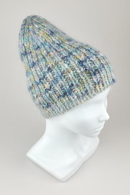Вязаная арт шапка женская из ангоры толстая резинкой 1 на 1