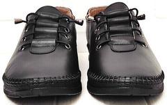 Кэжуал кожаные кроссовки мокасины женские на шнурках резинках EVA collection 151 Black.