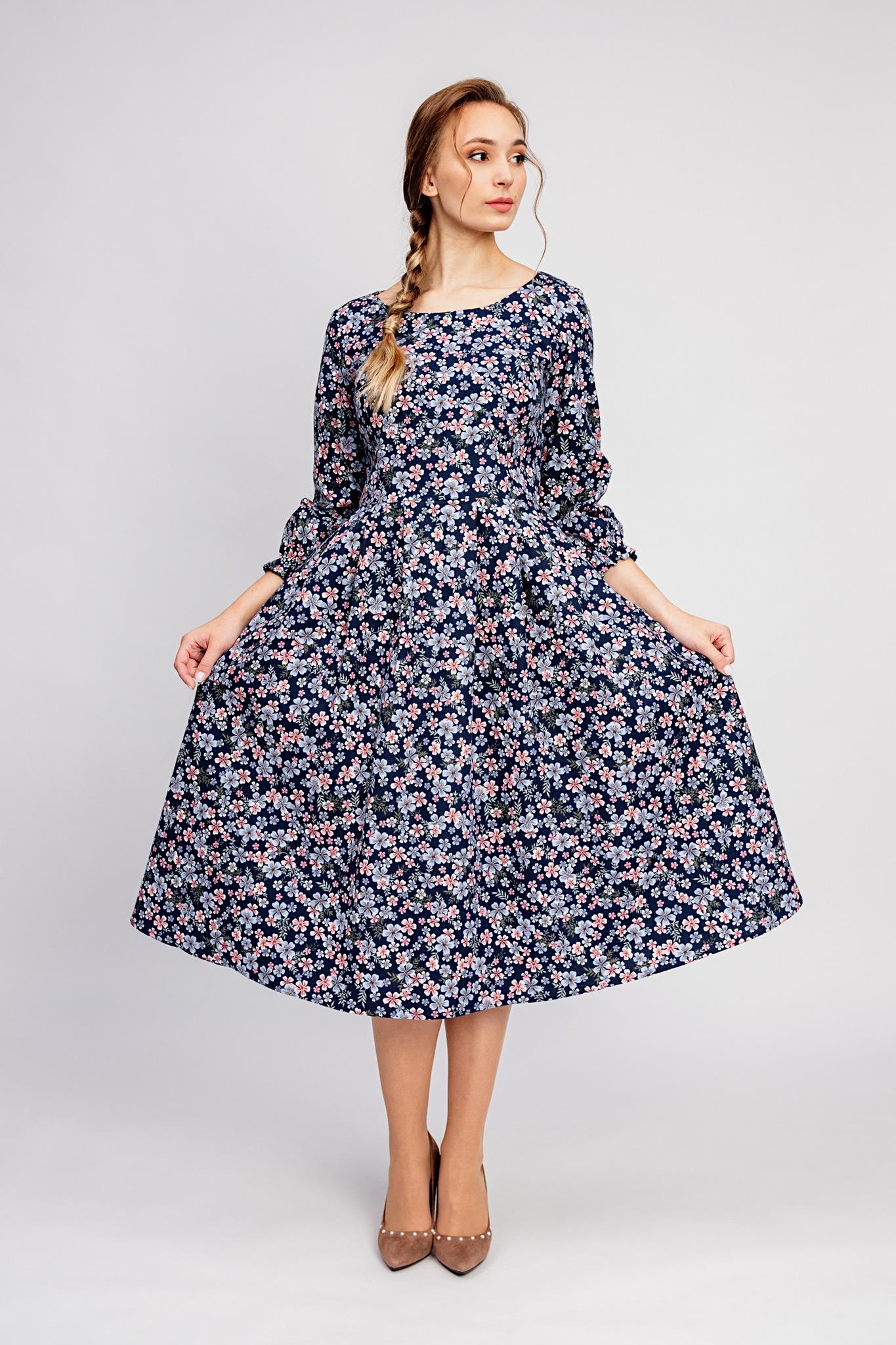 Синее теплое платье