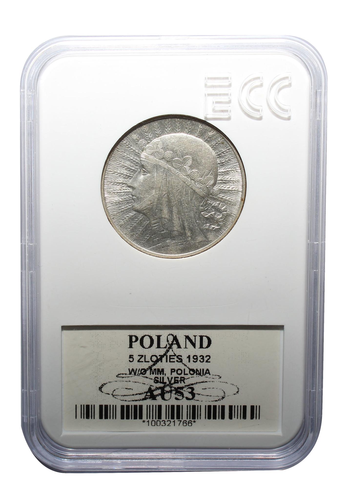 5 злотых Польша Ядвига 1932 год UNC