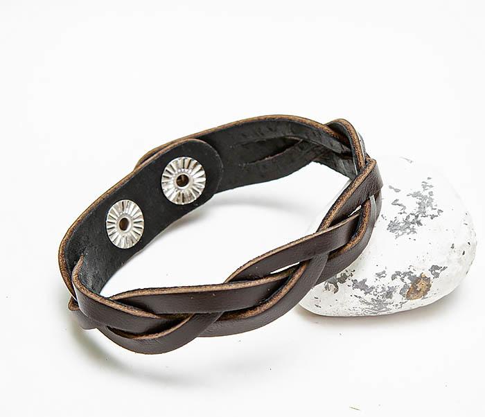 BL796-2 Мужской плетеный браслет из коричневой кожи