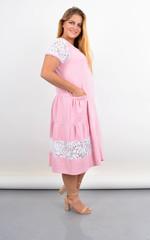 Сантана. Літнє плаття-халат великого розміру з мереживом. Пудра.