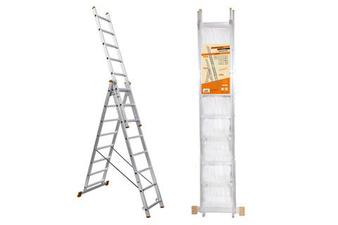 Лестница алюминиевая, ЛА3х10, 3х секционная х 10 ступеней, h=6270 мм, Народная