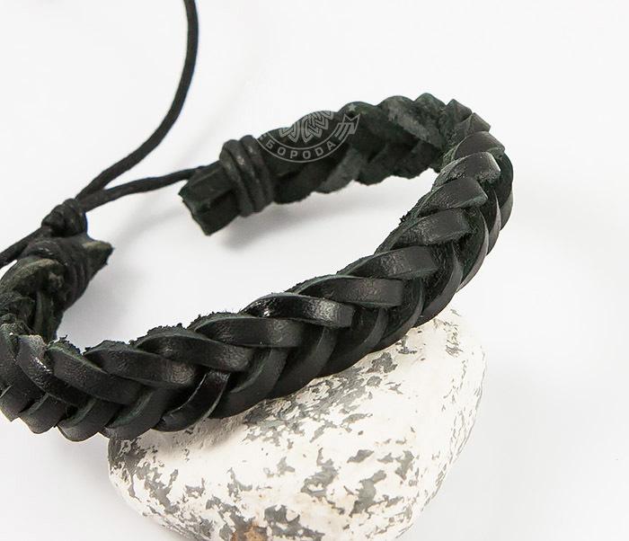 SL0135-K Мужской плетеный браслет из черной натуральной кожи, «Spikes» фото 04