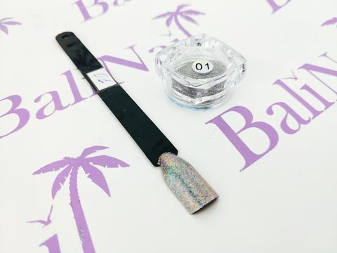 Пыль для дизайна ногтей (серебро) #01