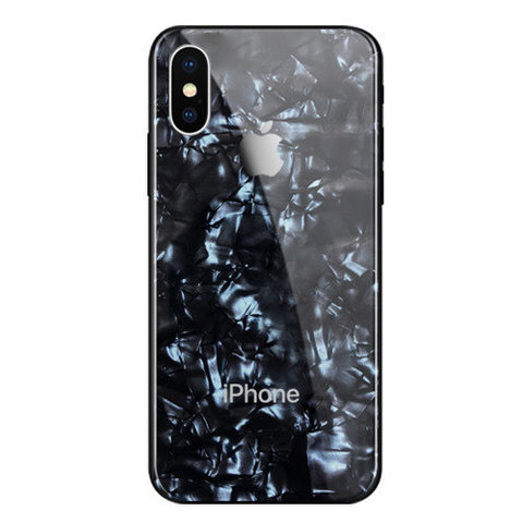 Чехол iPhone X/XS Glass Marble Case Logo /black/