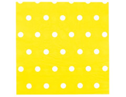 Салфетка Горошек желтая 33см 12шт/G