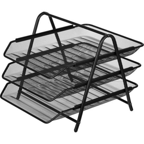 Лоток для бумаг горизонтальный Attache (3 секции, металлическая сетка, высота 267 мм, черный)