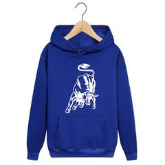 Толстовка однотонная синяя с капюшоном