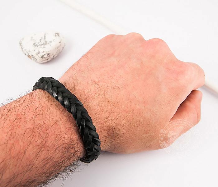SL0135-K Мужской плетеный браслет из черной натуральной кожи, «Spikes» фото 05