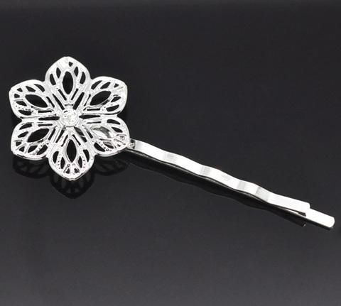 Основа для заколки - невидимки с филигранным цветком 23 мм, 61 мм (цвет - серебро) ()