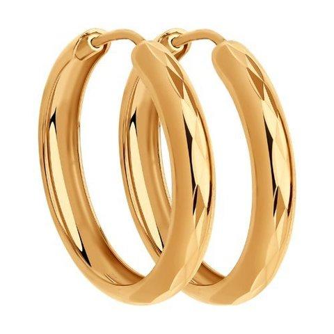140019 - Серьги конго из золота с алмазной гранью