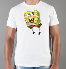 Футболка с принтом мультфильма Губка Боб Квадратные Штаны/ Спанч Боб (SpongeBob SquarePants) белая 0017