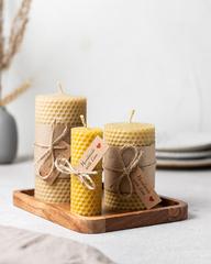 Свечи из натуральной медовой вощины (3 штуки) HoneyForYou в подарочной упаковке