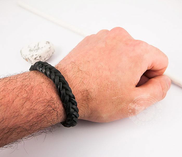 SL0135-K Мужской плетеный браслет из черной натуральной кожи, «Spikes» фото 06
