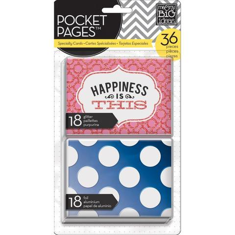 Набор карточек для Project life - Me & My Big Ideas Pocket Pages Specialty Cards - Happiness Is This-  36 шт