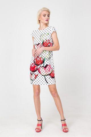 Фото белое платье прямого силуэта в горох с цветочным принтом - Платье З370а-550 (1)