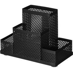 Подставка для канцелярских принадлежностей Attache Башня (4 секции, металлическая сетка, 160х110х80 мм, черная)
