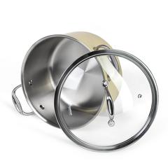 Кастрюля BRIGITTE 24x13,5см / 6л со стеклянной крышкой (нерж.сталь)