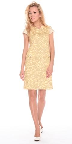 Фото летнее желтое платье в горошек с фигурными карманами - Платье З200а-543 (1)