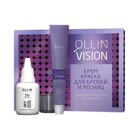 OLLIN PROFESSIONAL VISION SET Крем-краска для бровей и ресниц черный 20 мл