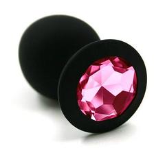 Анальная силиконовая пробка средняя М (черный/розовый)