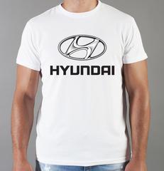 Футболка с принтом Хендай (Hyundai) белая 002