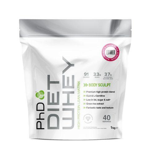 PhD Diet Whey, диетическая протеиновая смесь, вкус Белый Шоколад/Малина, 1 кг.